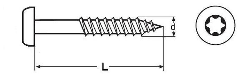 vrut 6.0x50 A2 NEREZ půlkulatá hlava TORX