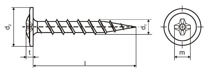 vrut 4.2x45 ČERNÝ FOSFÁT rámová hlava křížová drážka +límec hrubý závit