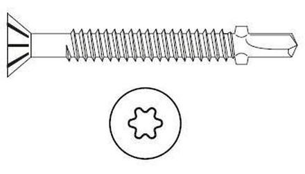 vrut 4.0x40 BÍLÝ ZINEK zápustná hlava samovrtný TORX 20 +drážky pod hlavou