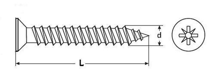 vrut 3.0x25 A2 NEREZ zápustná hlava, křížová drážka, celý závit, DIN 7505A