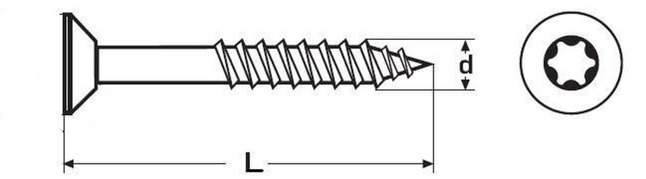 vrut 5.0x80/48 ŽLUTÝ ZINEK částečný závit zápustná hlava TORX 25, DIN 7505H
