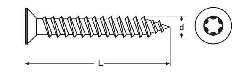 vrut 4.5x45 ŽLUTÝ ZINEK celý závit zápustná hlava TORX 25, DIN 7505G