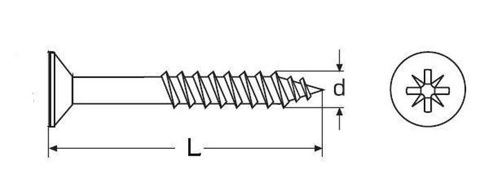 vrut 3.0x40/24 A2 NEREZ zápustná hlava, částečný závit, křížová drážka, DIN 7505A
