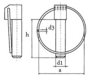 zákolník 10x44+kroužek DIN 11023 (kolík pojistný)