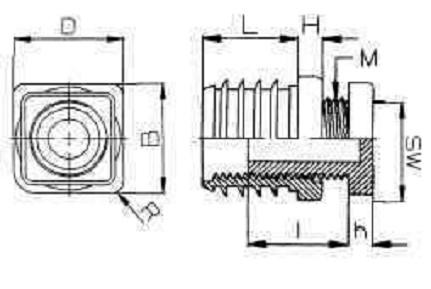 krytka 25x25 + 6hr M16x60 černá