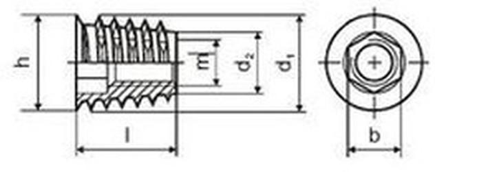matice nábytkářská M4x10 D ŽLUTÝ ZINEK závrtná s límcem SKDZ