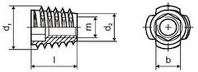 matice nábytkářská M6x13 E BÍLÝ ZINEK závrtná bez límce FLBVH